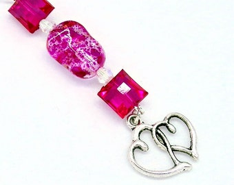 Love/Hearts Car Charm/Rear View Mirror Charm/Vent Charm - Silver Tone Hearts with Dark Pink Beads  C 224