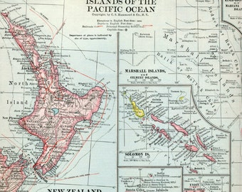 1919 Large Vintage Map of New Zealand and Islands of the Pacific Ocean - Antique New Zealand Map