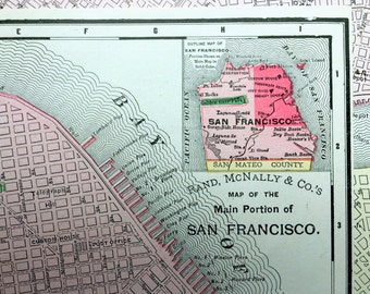 1900 Antique Map of San Francisco, Main Portion - Vintage SF Map - California