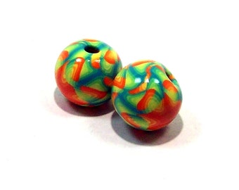 Bright Spring Handmade Polymer Clay Beads - Large Hole for Cord or Macrame