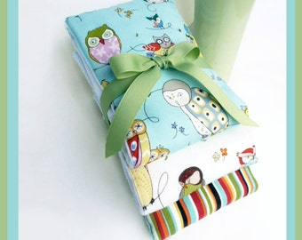NEW - Nursery Owl BuRP CLoTH SeT and BABY BoY GIFT  in Sage Green and Soft Blue Coordinated Designer 3 Pack