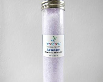 English Lavender European Solar Sea Aromatherapy Mineral Bath Salt Tube | Vegan | Relaxing Soaking Salts | Natural Spa Gift Idea  - 3.3 oz