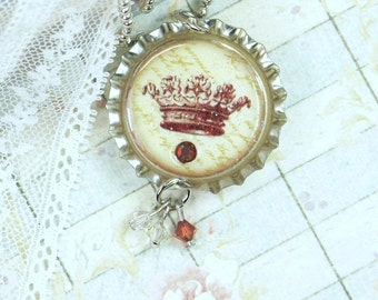 Victorian Crown Necklace Bottle Cap Jewelry Vintage Crown Necklace Princess Crown Jewelry Crown Pendant