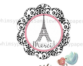 "Pink and Black Eiffel Tower Scalloped Circle ""Merci"" stickers - set of 50"