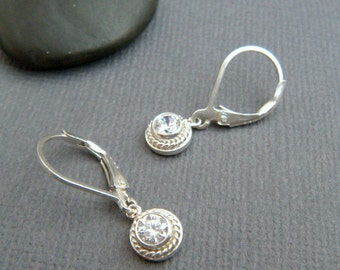 tiny silver cubic zirconia earrings. rope bezel. leverback. lever back. latch. small dangle. clear crystal sterling drop round 6 mm CZ
