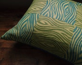Olive and teal faux bois linen pillow cover woodgrain texture hand block printed modern colorful home decor decorative
