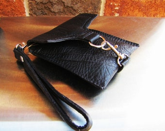 Black leather wristlet, small leather case, small Phone case wallet, credit cards wallet, Custom to fit iPhone 6 or 7