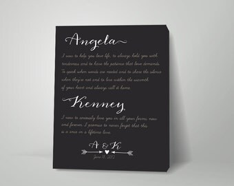 Vows on canvas, couples gift, Marriage vows on canvas, wedding ceremony, Romantic Canvas Art, Vow RENEWALS on canvas, gift for spouse