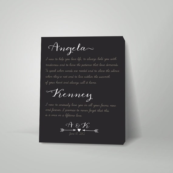 Wedding Vow Renewal Gift For Husband : Vows on canvas couples gift Marriage vows on canvas wedding
