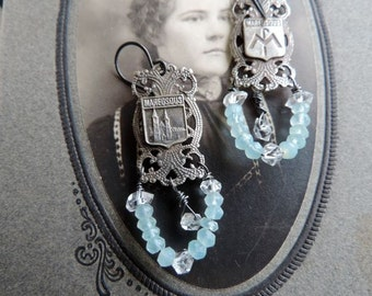 Vintage Assemblage Earrings Silver Colored Maredsous Abbey Souvenir Links Chalcedony Herkimer Diamonds