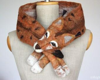 Mr Lynx - felted wool animal scarf