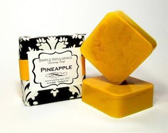 Pineapple Shea Soap, Handmade yellow soap, creamy lather, gentle, fruit fragrance