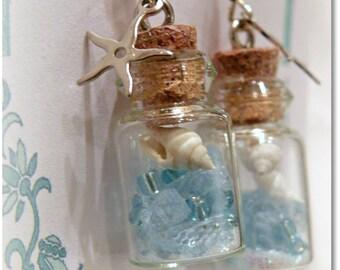 Beach In A Bottle Earrings - Mermaid Treasure