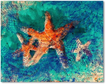 Sea Stars - With Poem - Print Of Original Acrylic Painting by Micki Findlay
