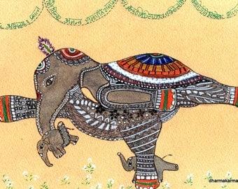 Yoga Art Elephant Painting in Veerabhadrasana Zen Doodle Mother's Day