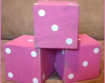 Lg Wood Dice - Pink