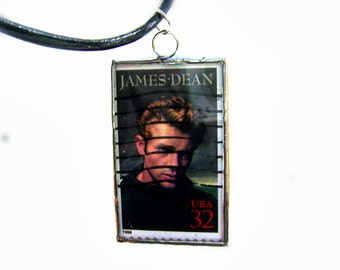 James Dean Necklace Movie Stars Legends Vintage Hollywood Movies Postage Stamp Pendant Mother's Day Birthday Jewelry Necklace Glass