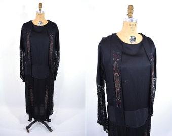 1920s dress vintage 20s black dropwaist beaded lace silk flapper dress L/XL