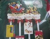 Vintage - Bucilla Christmas Kit - Holiday Greetings - Card Holder Felt Applique - NIP