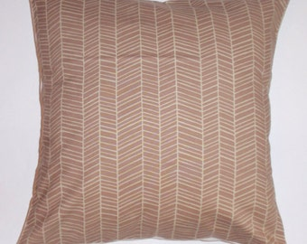 "Throw Pillow Cover, Brown Herringbone Throw Pillow Cover, Decorative Handmade Cushion Cover, Joel Dewberry Fabric, 16x16"" - LAST ONE"