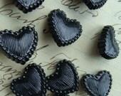 Black Gothic Black Heart Shank Buttons Lot