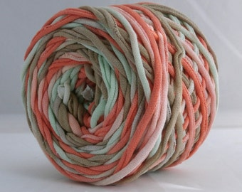 T Shirt Yarn Hand Dyed Tan/Coral/Mint 60 Yards