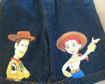 Custom Disney Clothing Hand Painted 3 THREE Character Toy Story Shorts Sizes 12m to 24m and 2T -12