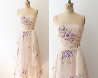 vintage hydrangea dress / 70s chiffon party dress / Garden Soiree dress