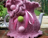Hand Knitted Tea Cosie   ' Vintage Rose '