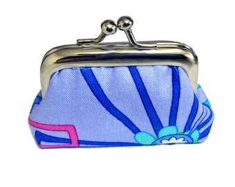 Blue Flower Bursts - Tiny Kisslock Metal Frame Coin Purse