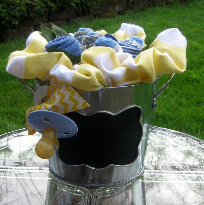 Chalkboard Baby Sock Rose Bouquet in Blue Yellow and Gray