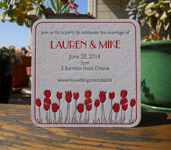 Save the date - letterpress coasters