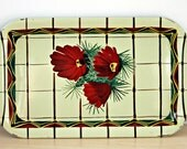 Vintage Mid Century Kitchen Tin Tray Red Flowering Cactus