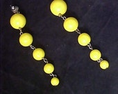 Yellow CELLULOID Graduated beads~Shoulder Duster Post Earrings