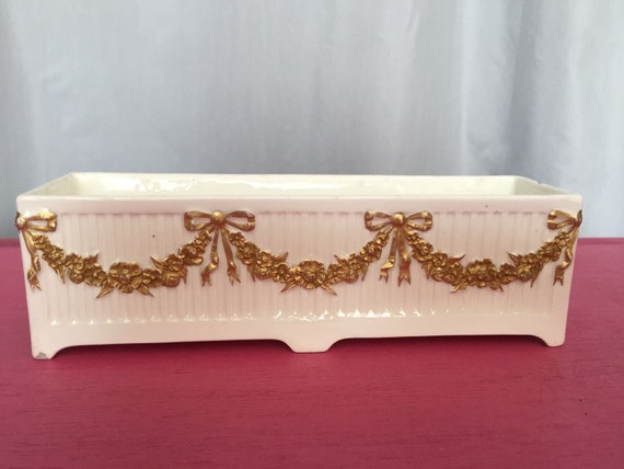 Vintage ceramic tray vase vanity bottle by for White ceramic bathroom tray