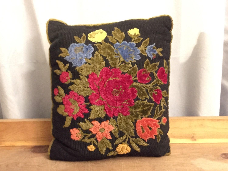 Floral Pillow Vintage Black Chenille Red Flowers Orange Green