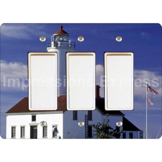 Lighthouse nautical triple decora rocker light switch plate for Lighthouse switch plates