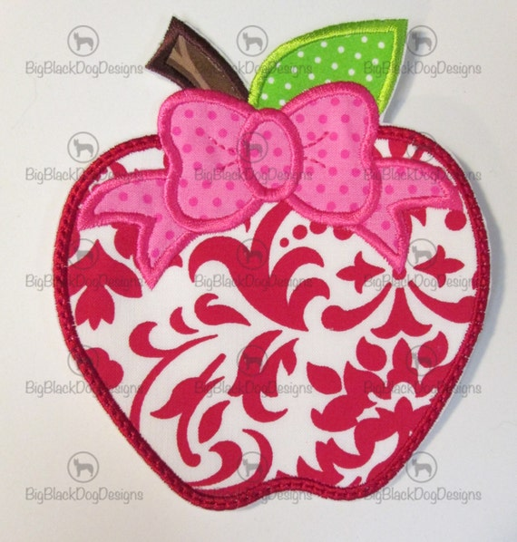 Iron On Applique - Apple with Bow
