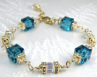 Teal Bracelet, Swarovski Crystal Cube, Gold Filled, Bridesmaids Bridal Gift, Dark Teal Wedding Jewelry, Handmade Something Blue, Mothers Day