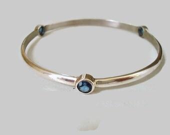 Birthstone  Sterling Silver Bangle Bracelet Gemstone