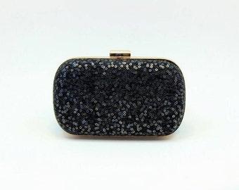 SALE | Black Clutch | Sequin Box Clutch | Bridesmaid Clutch | Winter Wedding Clutch [Midnight Box Clutch]