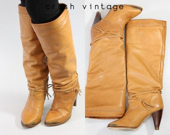 80s Deadstock Zodiac Boots 6.5 / 1980s Caramel Braided Leather Boots /  Gazebo Boots