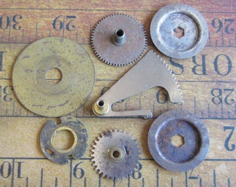Vintage WATCH PARTS gears - Steampunk parts - g62 Listing is for all the watch parts seen in photos
