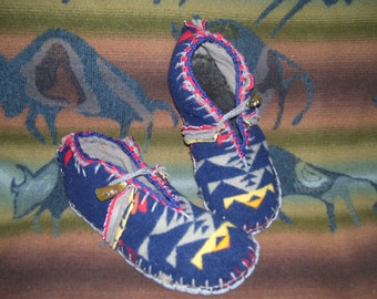 Snowbirds Sing a New Song - Felted Blanket Wool Moccasins / Wool Lined / Sheepskin & Wool Insoles / Leather Soles - Women's or Men's Sizes