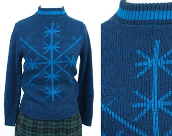 soft blue Snowflake Sweater // vintage Sears Student XS/S // extra small 1970s