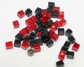 50 pces red and black glass cubes,3 X 3mm cube beads, glass cubes, red glass cubes, black glass cubes,