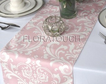 Traditions Light Pink and White Damask Wedding Table Runner