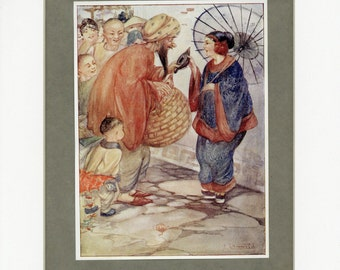 1912 Antique Print Aladdin from Rose Fairy Book