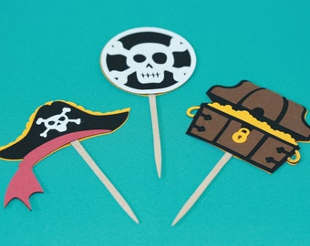 Pirate themed cupcake toppers 24pk