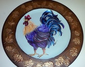 "Hand Painted Large 13"" Hand Painted Rooster Plate/Wall Hanging Faux Copper w/gold leaf accent"